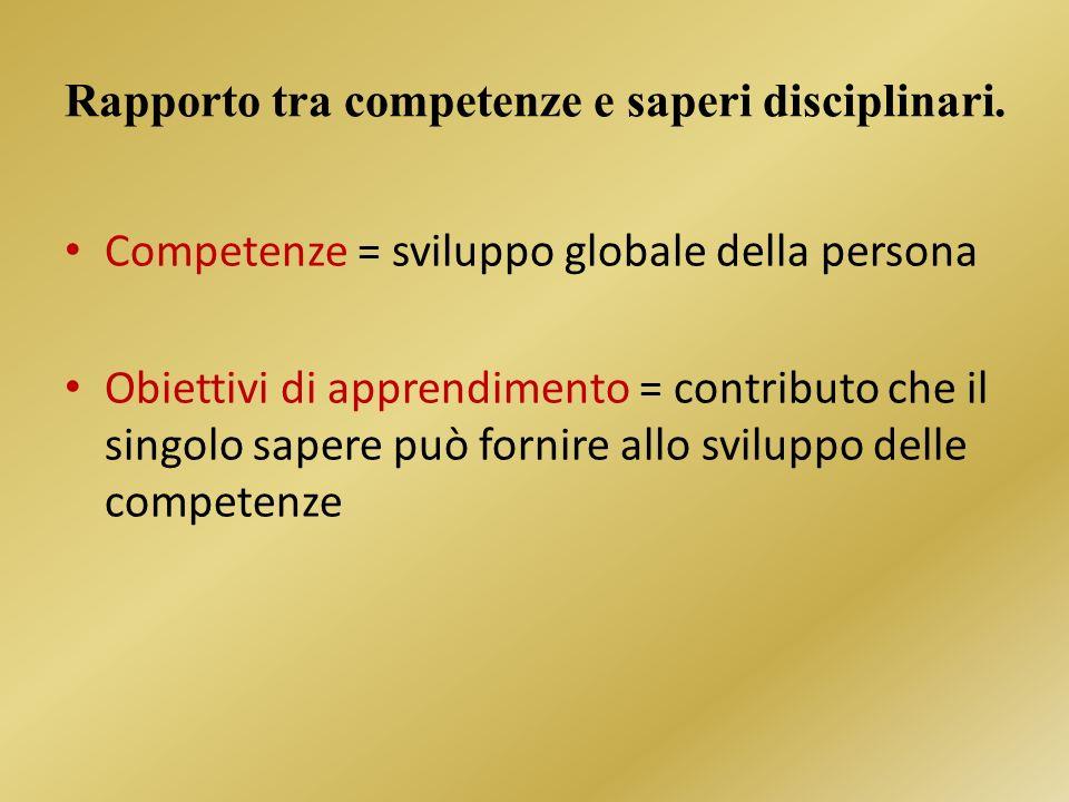 Rapporto tra competenze e saperi disciplinari.