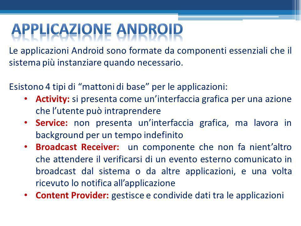 Applicazione android Le applicazioni Android sono formate da componenti essenziali che il sistema più instanziare quando necessario.