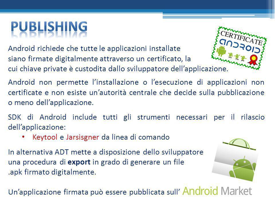 publishing Android richiede che tutte le applicazioni installate