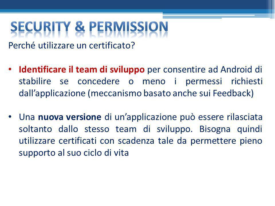 Security & permission Perché utilizzare un certificato