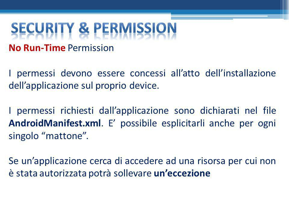 Security & permission No Run-Time Permission