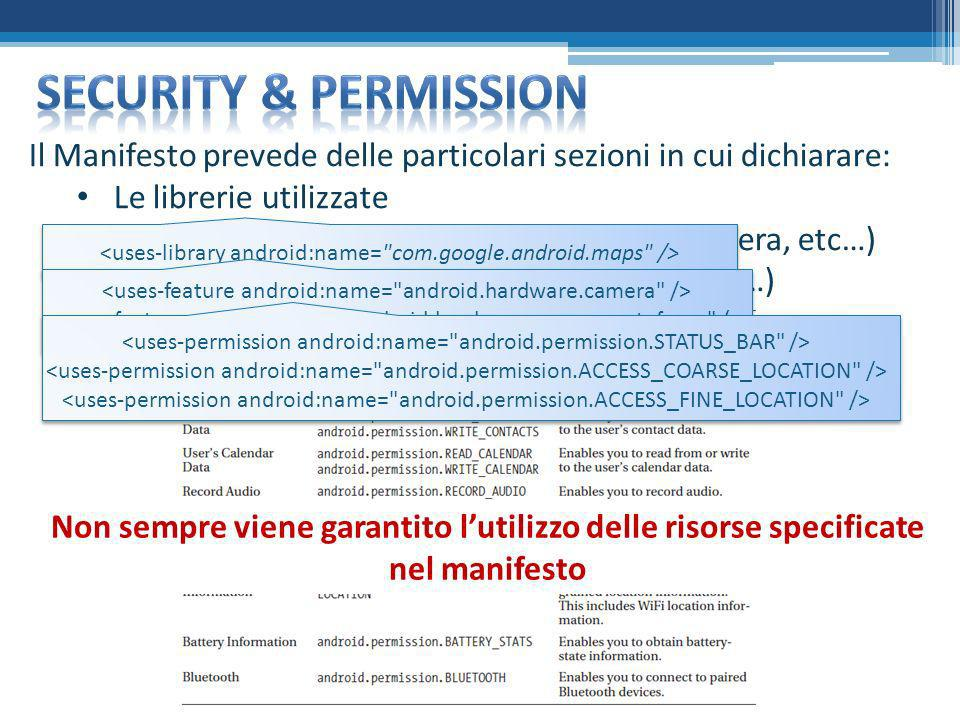 Security & permission Il Manifesto prevede delle particolari sezioni in cui dichiarare: Le librerie utilizzate.