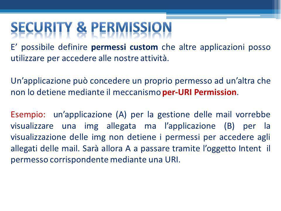 Security & permission E' possibile definire permessi custom che altre applicazioni posso utilizzare per accedere alle nostre attività.