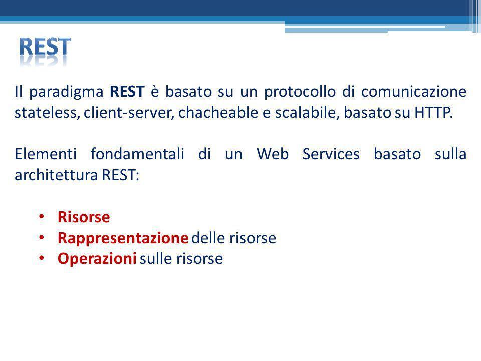 Rest Il paradigma REST è basato su un protocollo di comunicazione stateless, client-server, chacheable e scalabile, basato su HTTP.