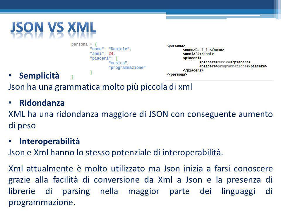 Json VS XML Semplicità Json ha una grammatica molto più piccola di xml