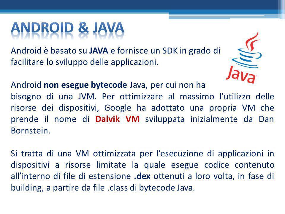 Android & Java Android è basato su JAVA e fornisce un SDK in grado di