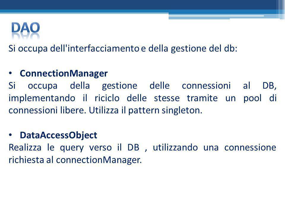DAO Si occupa dell interfacciamento e della gestione del db:
