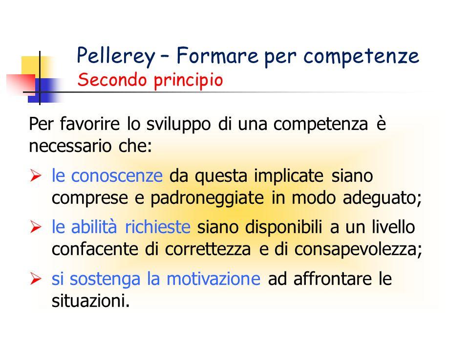Pellerey – Formare per competenze Secondo principio