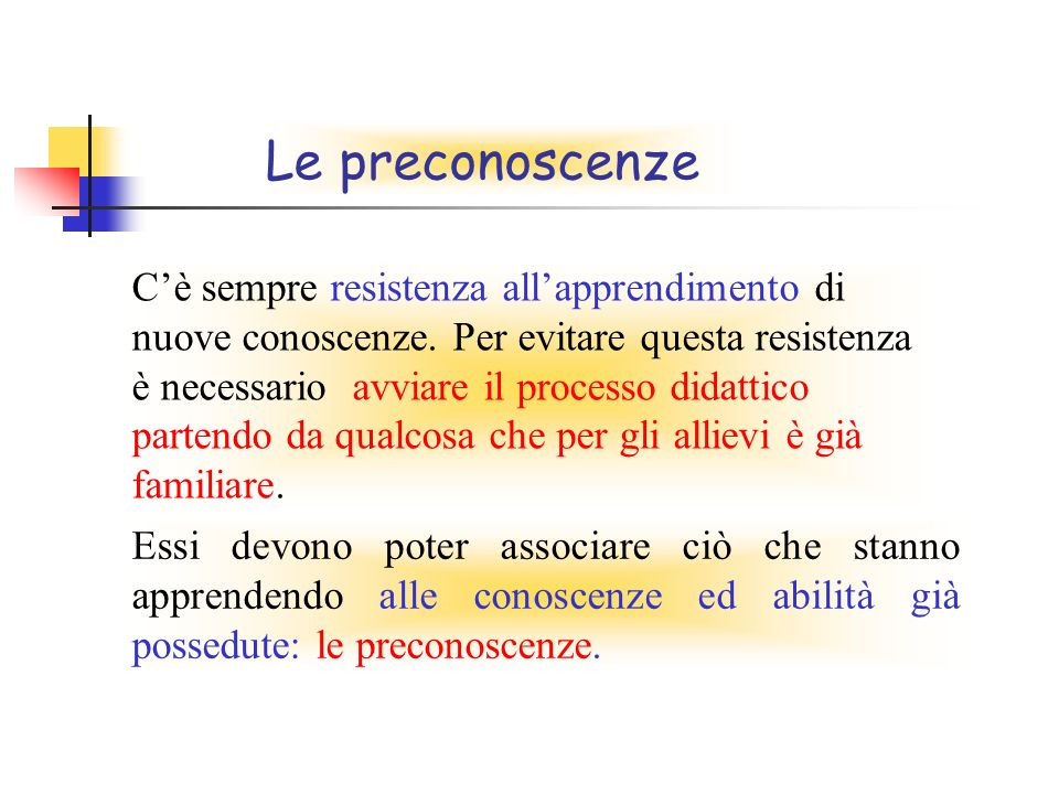 Le preconoscenze