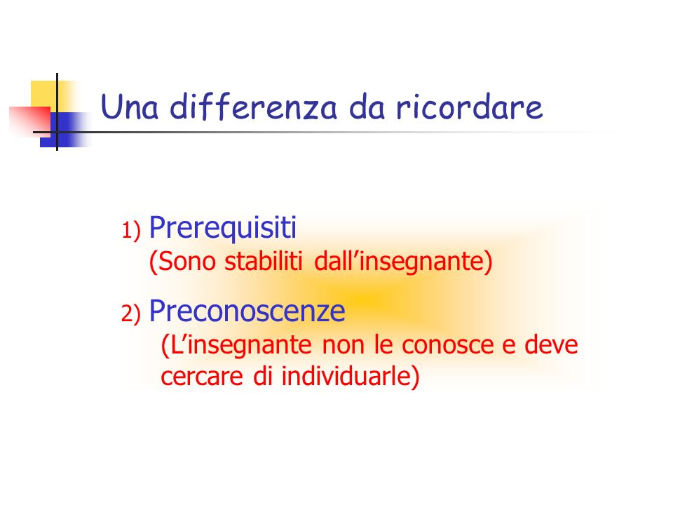 Una differenza da ricordare