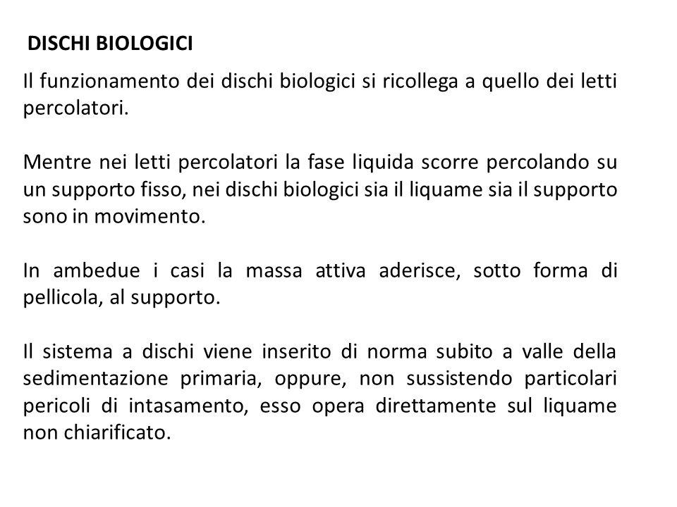 DISCHI BIOLOGICI Il funzionamento dei dischi biologici si ricollega a quello dei letti percolatori.