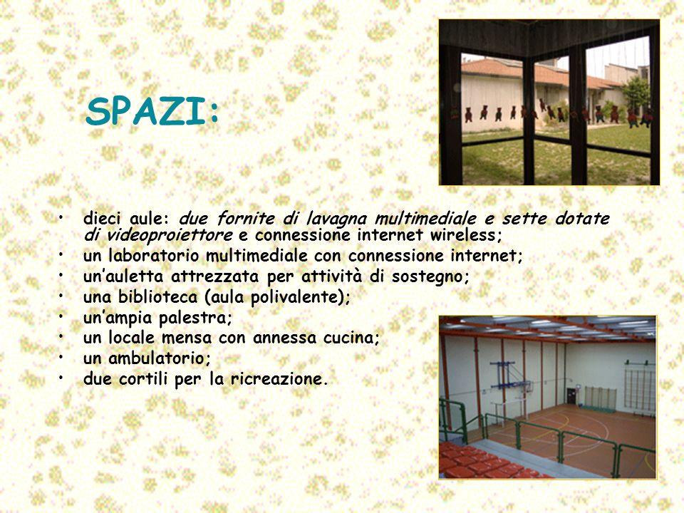 SPAZI: dieci aule: due fornite di lavagna multimediale e sette dotate di videoproiettore e connessione internet wireless;