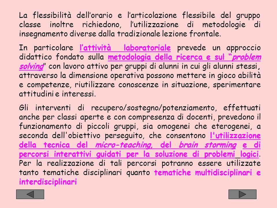 La flessibilità dell'orario e l'articolazione flessibile del gruppo classe inoltre richiedono, l'utilizzazione di metodologie di insegnamento diverse dalla tradizionale lezione frontale.