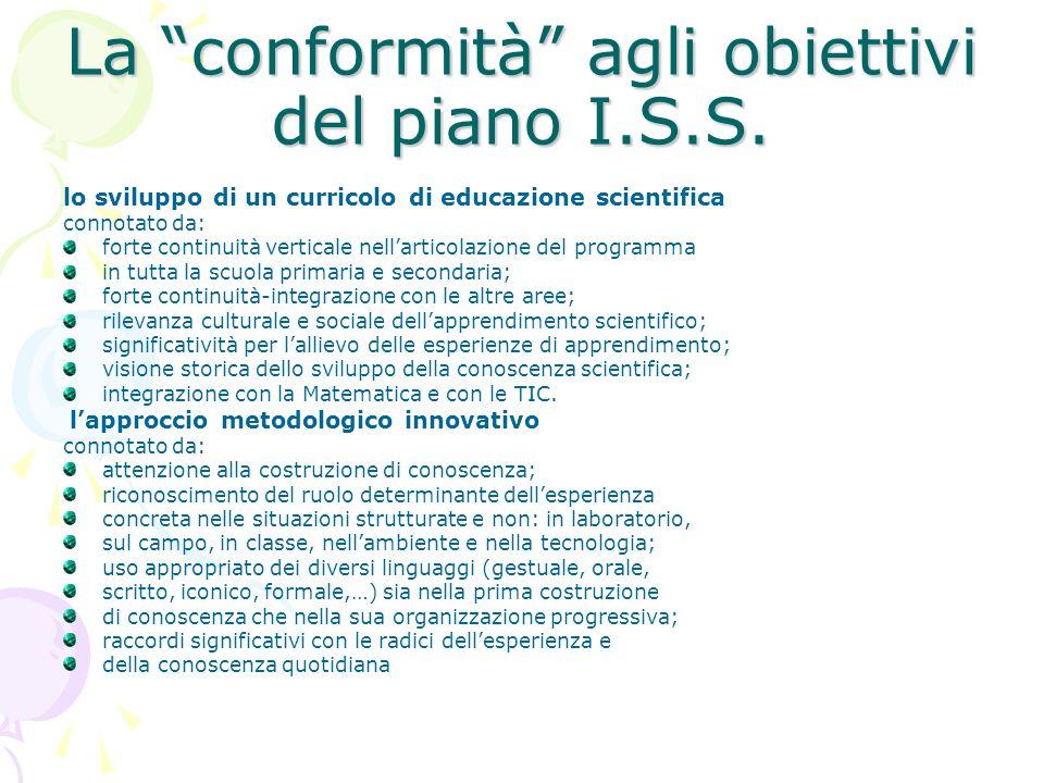 La conformità agli obiettivi del piano I.S.S.