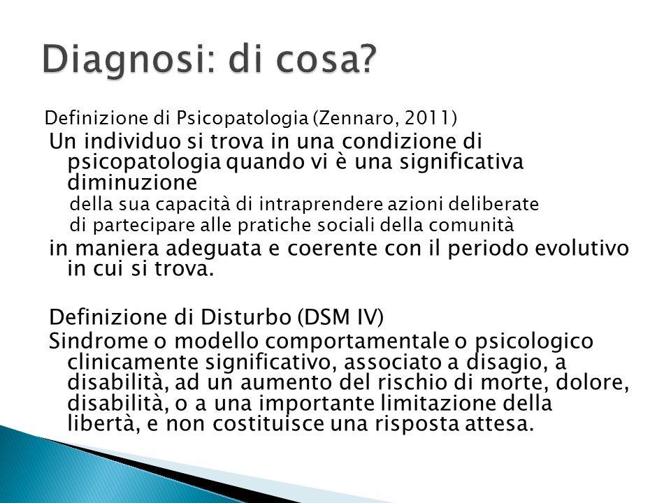 Diagnosi: di cosa Definizione di Psicopatologia (Zennaro, 2011)