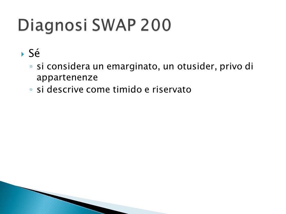 Diagnosi SWAP 200 Sé. si considera un emarginato, un otusider, privo di appartenenze.