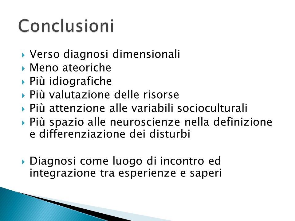 Conclusioni Verso diagnosi dimensionali Meno ateoriche