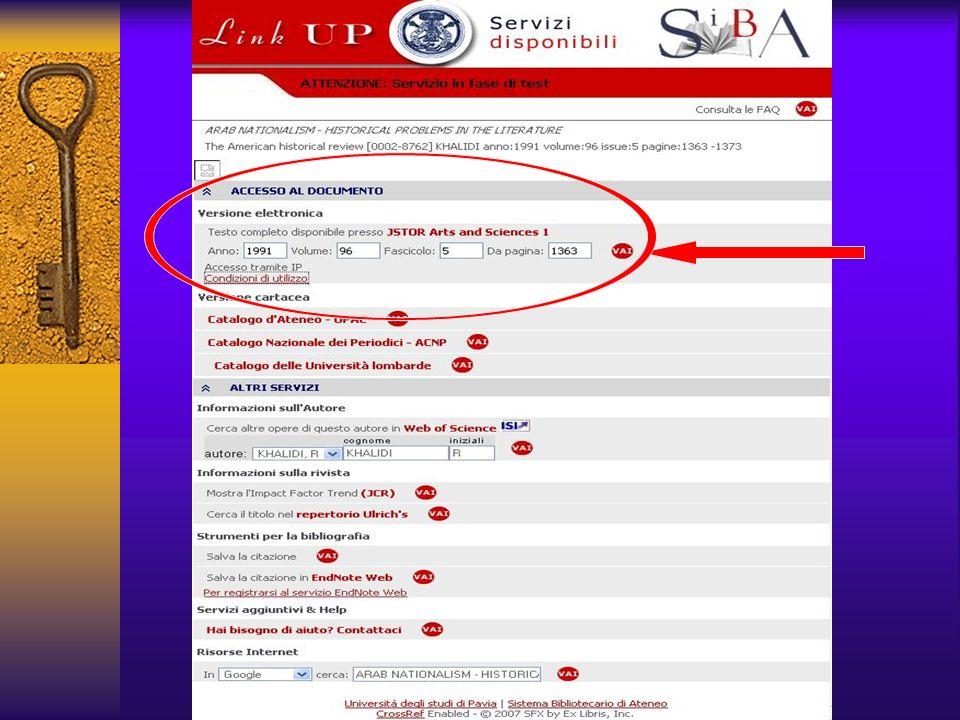 Compare una pagina con un menu di servizi disponibili per quella citazione; la disponibilità sulla piattaforma (es.