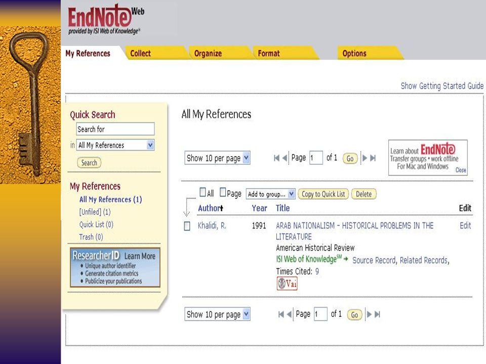 Si può salvare la citazione in EndNoteWeb, iscrivendosi al servizio