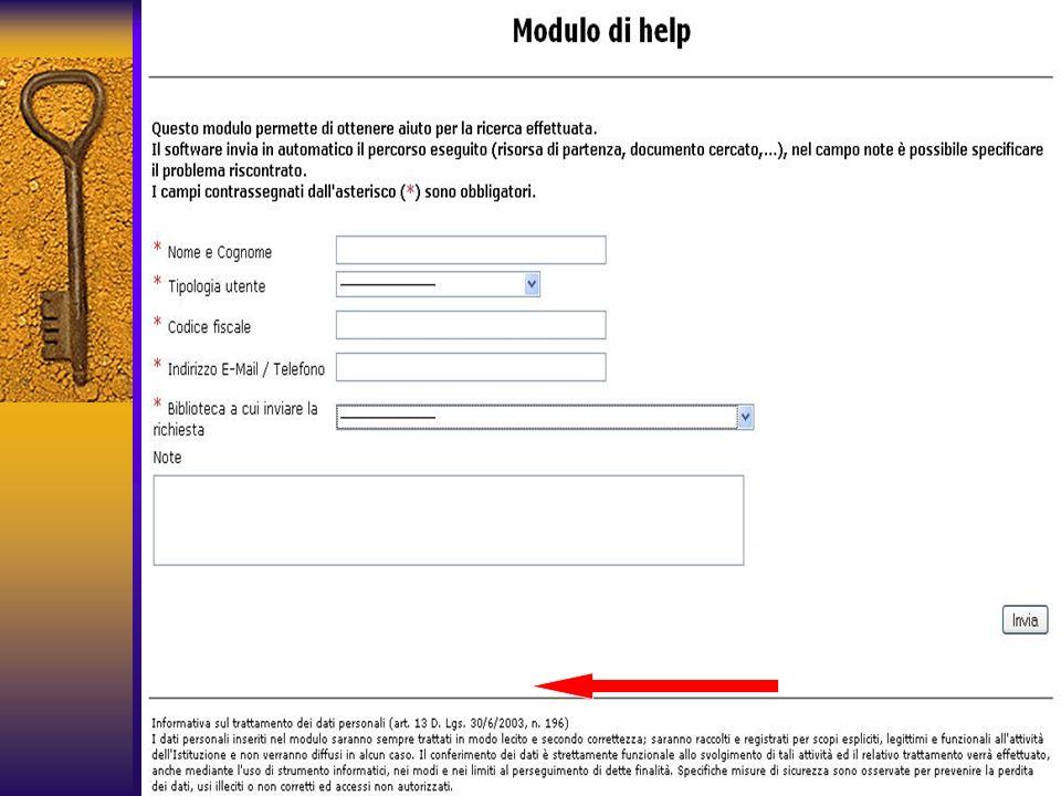 In caso di necessità, si può compilare un modulo per la richiesta di aiuto