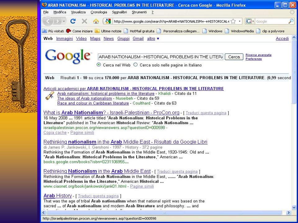 Si può cercare l'articolo in diversi motori di ricerca: AltaVista, EuroSeek, Excite, Google, HotBot, Ixquick, MetaCrawler, SciSeek,Tehoma, Yahoo