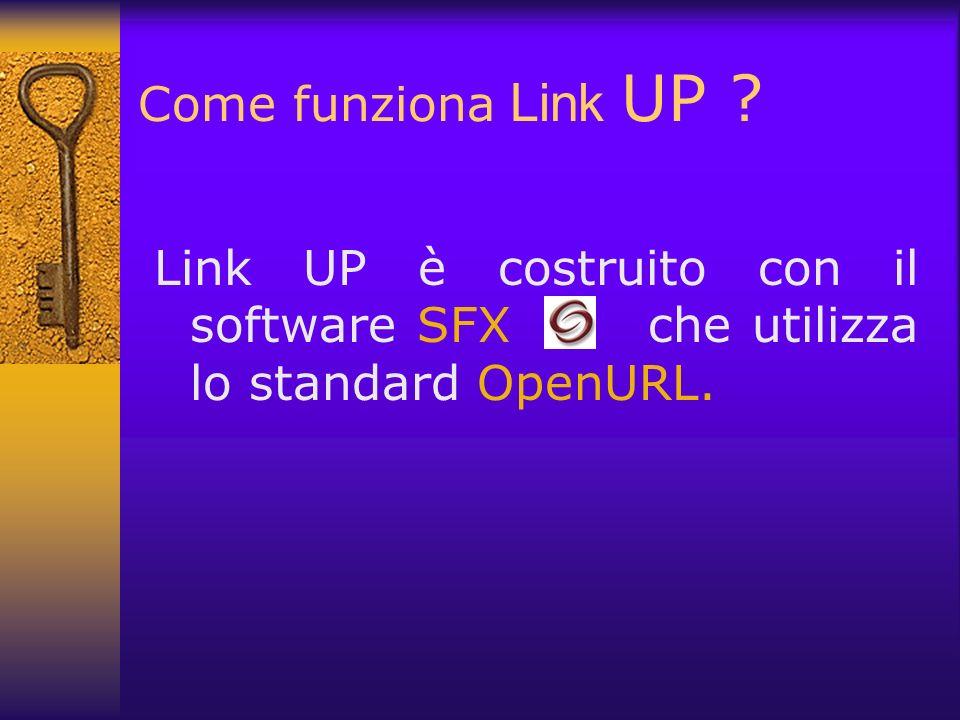 Come funziona Link UP Link UP è costruito con il software SFX che utilizza lo standard OpenURL.