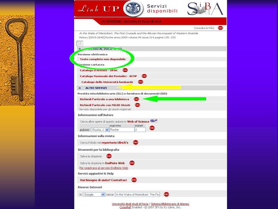 Se il full-text non è disponibile, oltre agli altri servizi già visti, vi è la possibilità di richiedere l'articolo ad una biblioteca, compilando un form di richiesta