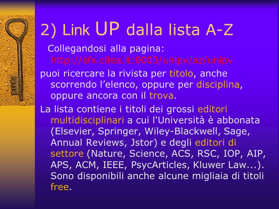 2) Link UP dalla lista A-Z