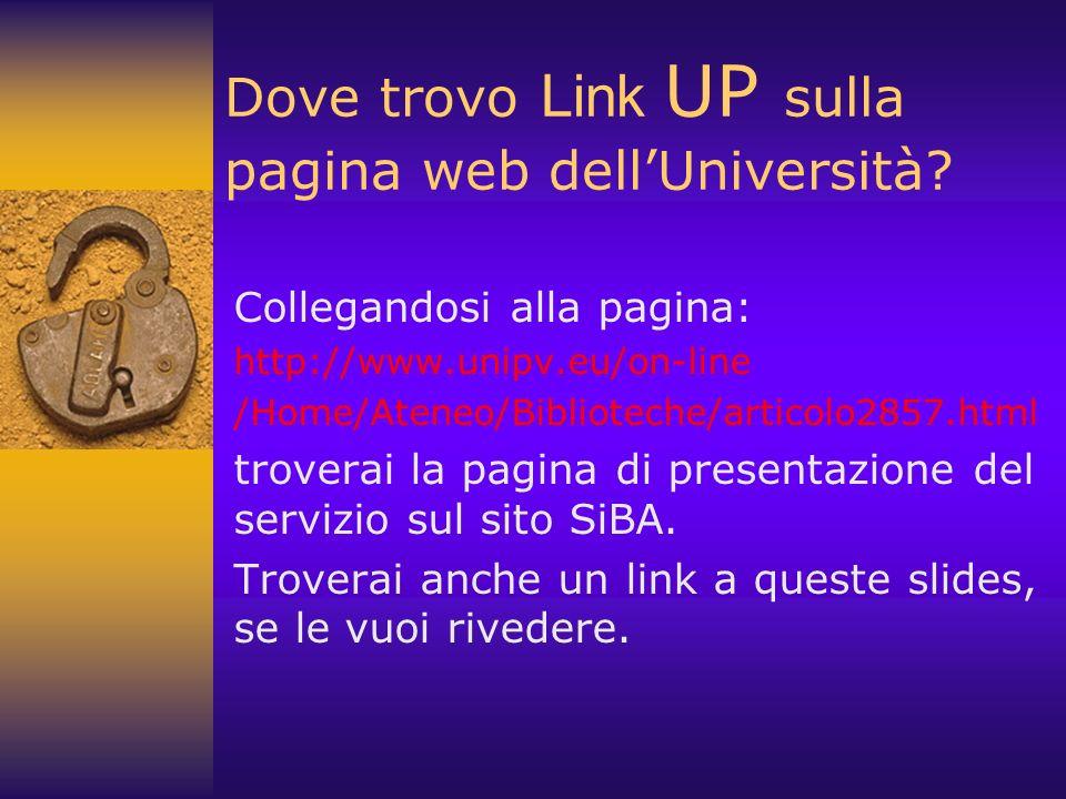 Dove trovo Link UP sulla pagina web dell'Università