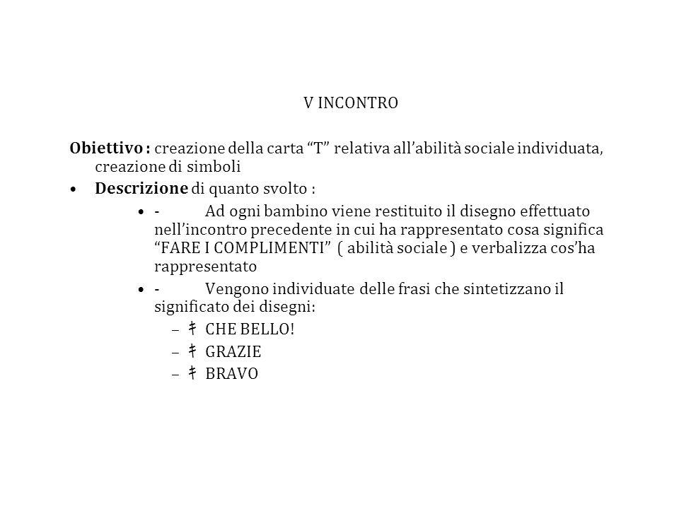 V INCONTRO Obiettivo : creazione della carta T relativa all'abilità sociale individuata, creazione di simboli.