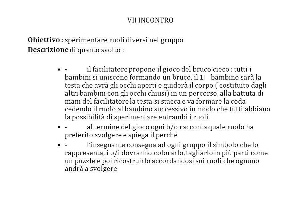 VII INCONTRO Obiettivo : sperimentare ruoli diversi nel gruppo. Descrizione di quanto svolto :