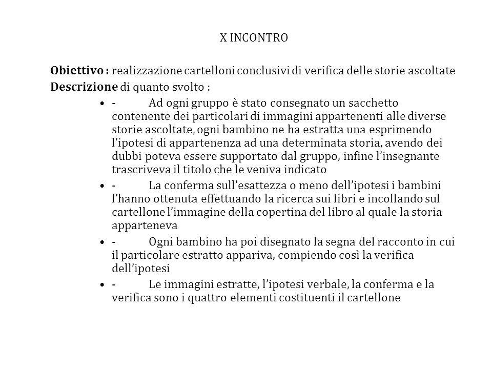 X INCONTRO Obiettivo : realizzazione cartelloni conclusivi di verifica delle storie ascoltate. Descrizione di quanto svolto :