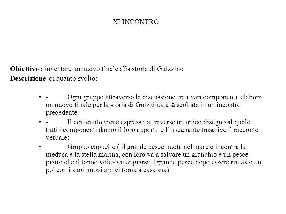 XI INCONTRO Obiettivo : inventare un nuovo finale alla storia di Guizzino. Descrizione di quanto svolto: