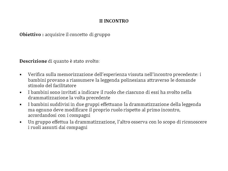 II INCONTRO Obiettivo : acquisire il concetto di gruppo. Descrizione di quanto è stato svolto: