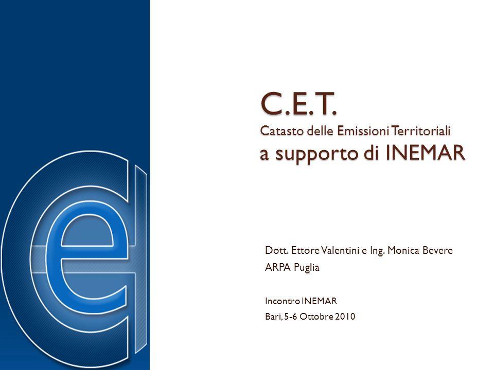 C.E.T. Catasto delle Emissioni Territoriali a supporto di INEMAR