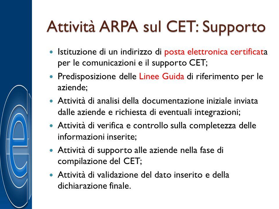 Attività ARPA sul CET: Supporto