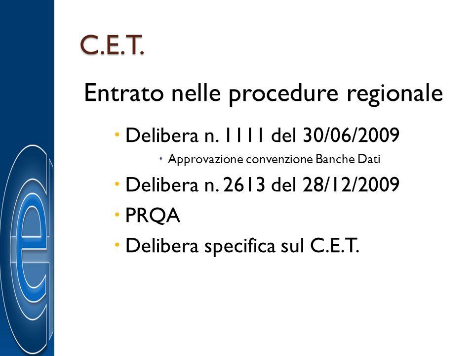 C.E.T. Entrato nelle procedure regionale