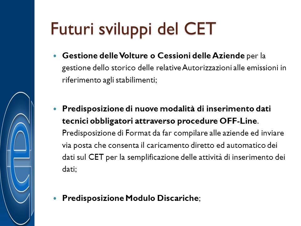 Futuri sviluppi del CET