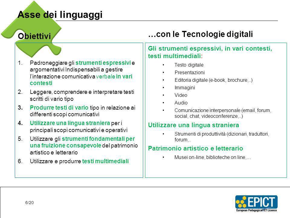 Asse dei linguaggi Obiettivi …con le Tecnologie digitali