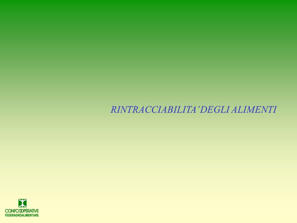 RINTRACCIABILITA' DEGLI ALIMENTI
