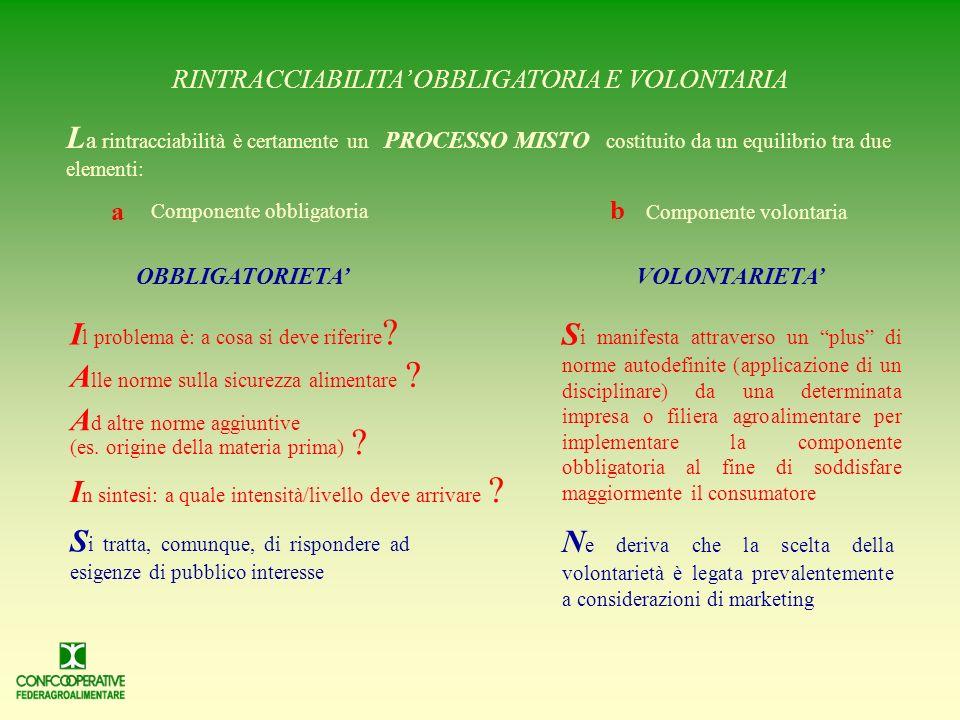 RINTRACCIABILITA' OBBLIGATORIA E VOLONTARIA