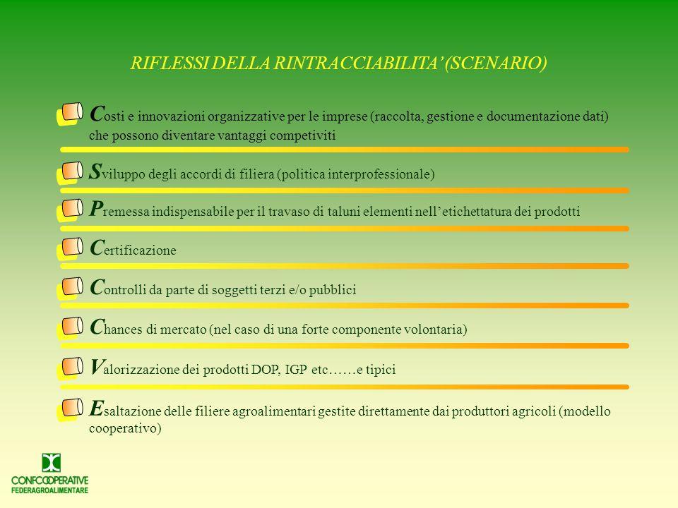RIFLESSI DELLA RINTRACCIABILITA' (SCENARIO)