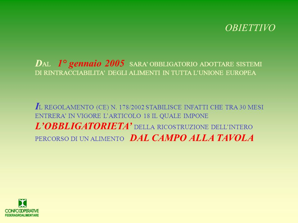 OBIETTIVO DAL 1° gennaio 2005 SARA' OBBLIGATORIO ADOTTARE SISTEMI DI RINTRACCIABILITA' DEGLI ALIMENTI IN TUTTA L'UNIONE EUROPEA.