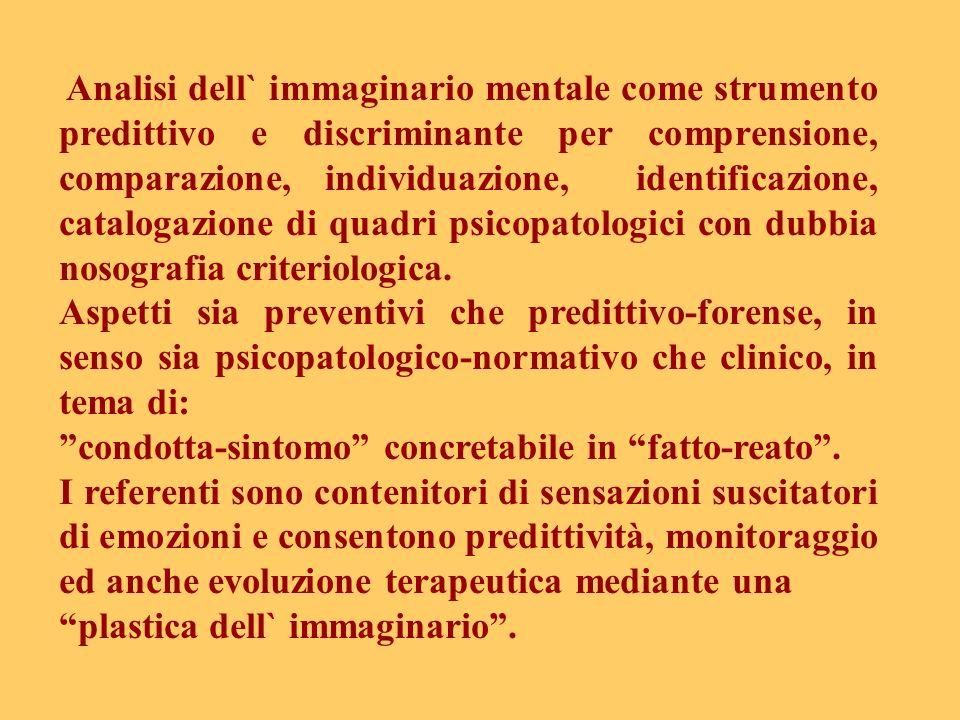 Analisi dell` immaginario mentale come strumento predittivo e discriminante per comprensione, comparazione, individuazione, identificazione, catalogazione di quadri psicopatologici con dubbia nosografia criteriologica.