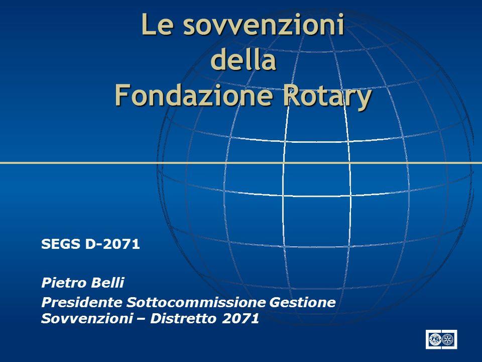 Le sovvenzioni della Fondazione Rotary