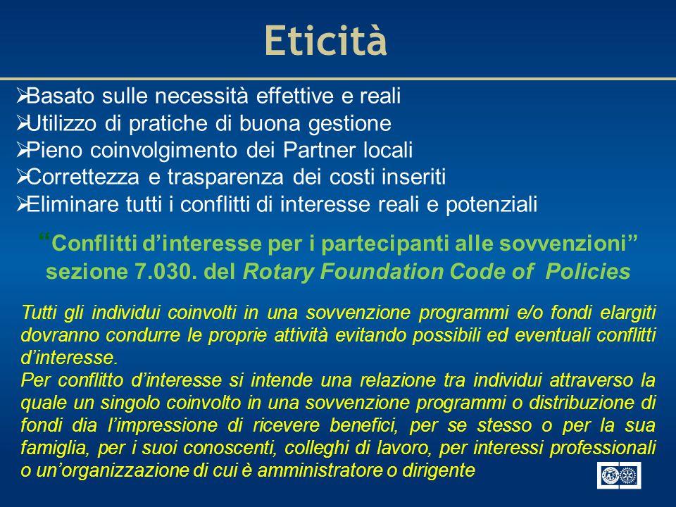 Eticità Basato sulle necessità effettive e reali. Utilizzo di pratiche di buona gestione. Pieno coinvolgimento dei Partner locali.