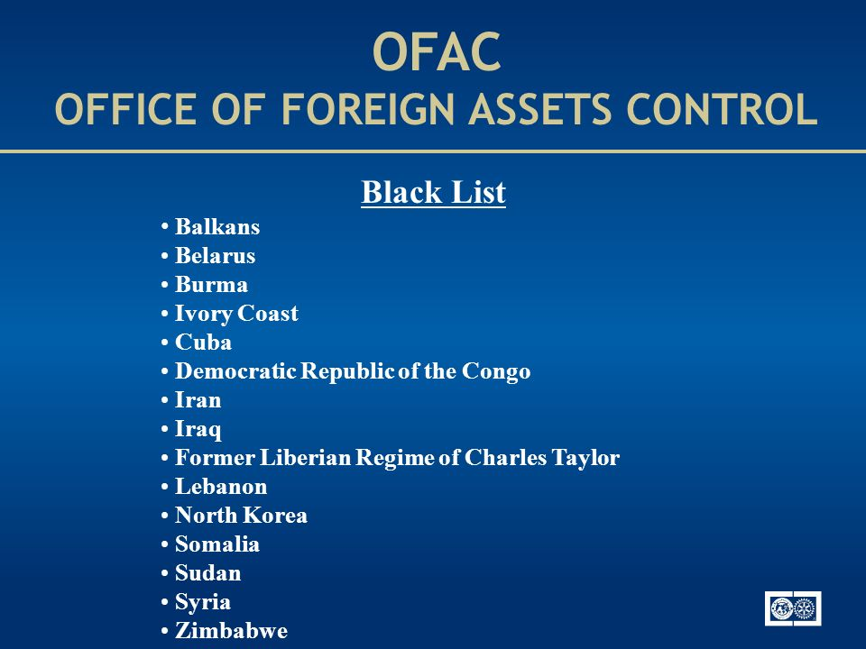 OFAC OFFICE OF FOREIGN ASSETS CONTROL