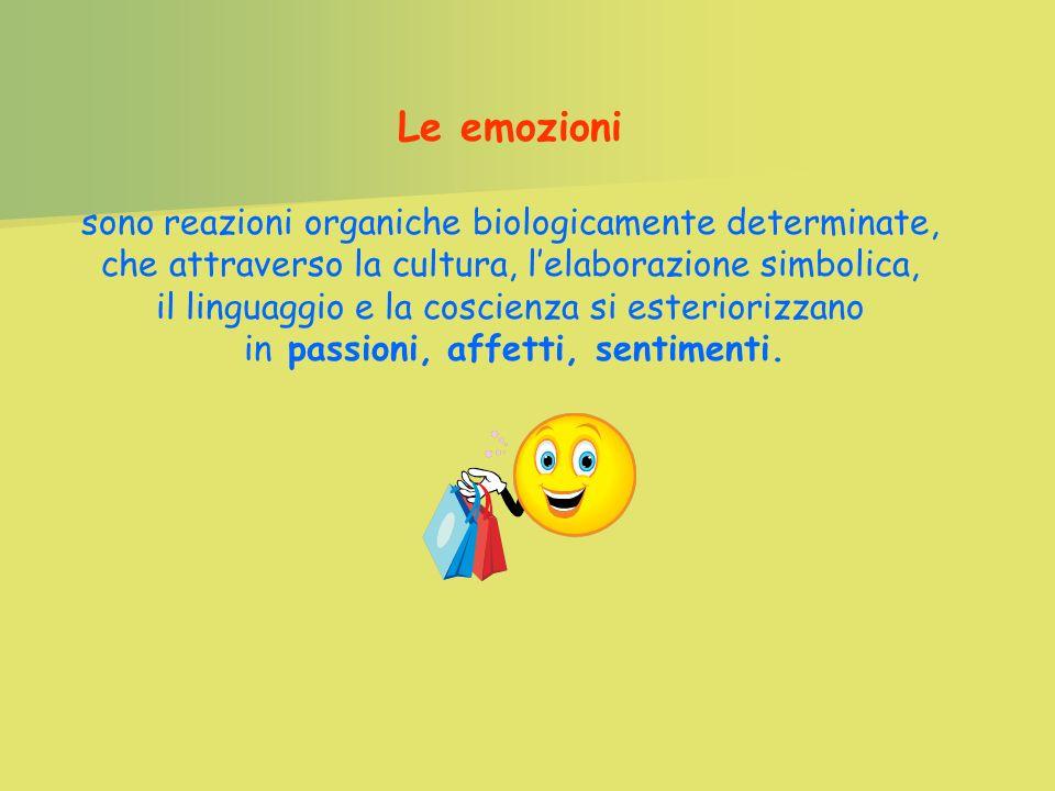 Le emozioni sono reazioni organiche biologicamente determinate, che attraverso la cultura, l'elaborazione simbolica,