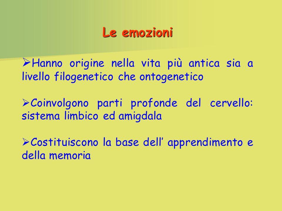 Le emozioni Hanno origine nella vita più antica sia a livello filogenetico che ontogenetico.