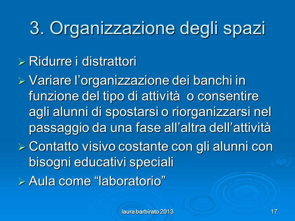 3. Organizzazione degli spazi